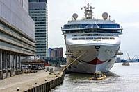 Rotterdam, Netherlands. Norwegian Star Cruise Ship moored at Wilhelmina Pier Cruise Terminal to unload it´s last passengers for the moment. Due to the...