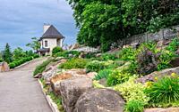 Buki, Ukraine 06. 20. 2020. Landscape Park and recreational complex in Buki village, Ukraine, on a cloudy summer day.