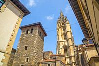 San Tirso El Real church and cathedral. Oviedo, Spain.