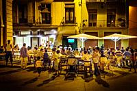 Watching the World Cup Final in a square in Manresa, Spain - Spain v Holland (2010).