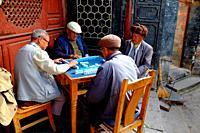 Elders playing mahjong, Mountain Weibaoshan, Weishan, Dali Bai Autonomous Prefecture, Yunnan, China