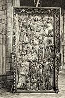14th century altarpiece, Barcelona cathedral, Spain. Europe. Old XIX century engraved illustration from La Ilustracion Española y Americana 1894.