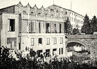 Thermal baths in Caldes de Montbui in 19th Century, Barcelona, Spain. Europe. Old XIX century engraved illustration from La Ilustracion Española y Ame...