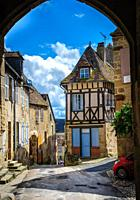 The medieval village of Saint-Benoît-du-Sault, Indre, France dating from the 15th and 16th centuries. Considered one of the most beautiful villages in...
