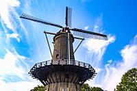Windmill in Hellevoetsluis, The Netherlands, Europe.
