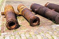 Old cannons in Hellevoetsluis, The Netherlands, Europe.