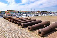 Old cannons in Hellevoetsluis, The Netherlands, Europe.