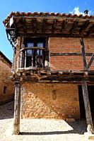 Calatañazor, traditional brick, stone and wood house . Soria province, Castilla y Leon, Spain.