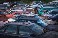 Car wrecking yard in Dobra village near Frydek-Mistek city in the Moravian-Silesian Region of Czech Republic.