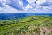 Aerial view from Wetlina High Mountain Pasture near Smerek Mount in Western Bieszczady Mountains in Poland.