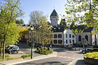 Europe, Luxembourg, Colmar-Berg, Village Centre with distant Berg Castle (The Grand Duke of Luxembourg's Principal Residence).