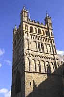 Tower of Exeter Cathedral Devon England.