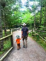 A father and son strolling on a path in a wildlife park, Nova Scotia, Canada.