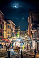 Rio Tera S. Leonardo street from Ponte delle Guglie, Cannaregio, Venice, Italy.
