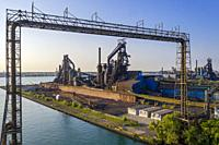 River Rouge, Michigan - The United States Steel mill on Zug Island, part of the company's Great Lakes Works which is being closed. At one time the mil...