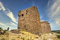 watchtower and Hudavendigar Mosque, Assos Historic Site, Biga Peninsula, Turkey.