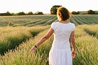 Beautiful woman in a white dress walks in the lavender field.