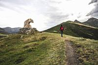 Man walking in the mountain next to bear statue in a lookout of the Picos de Europa.