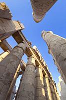 Pillars in the great hypostyle hall, temple of Karnak, Luxor, Egypt.