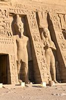 Colossal statues at Hathor temple of queen Nefertari, Abu Simbel, Egypt.
