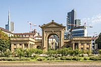 MILAN, ITALY - August 20 2020: cityscape with new skyscrapers of business hub urban development looming out of monumental city entrance, shot on augus...