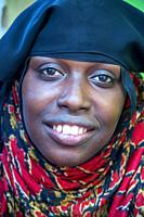 Funy swahili woman portrait in the strees of the city town of Lamu in Kenya.