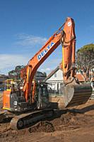 Earthworks underway on the former Bethlehem Hospital site on Kooyong Road, South Caulfield, Melbourne, Australia.