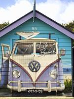 Mural depicting a VW Kombi van on a bathing box on the Dendy Street Beach on Port Phillip Bay, Melbourne, Australia.