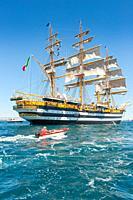 22 August 2020 - The Italian Navy sail Tall ship AMERIGO VESPUCCI in the harbour of Taranto, Italy; The vessel Amerigo Vespucci is the training-ship o...
