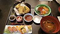 Set meal consisting of miso soup, sushi, tempura and sashimi at a local restaurant in Fujiyoshida, Yamanashi, Japan.