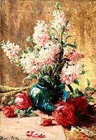 Biva Henri - Flowers - French School - 19th Century.