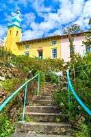 Italianate village of Portmeirion North Wales UK. August 2020.