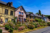 Street view in the village of Le Bec-Hellouin, Normandy, France.