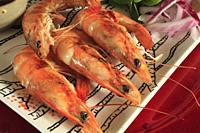 Grilled prawns,.