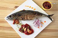 Mackerel, fish, grilled, romesco sauce, peppers, red onion, garlic,.
