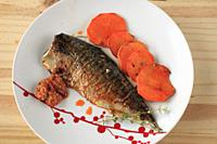 Mackerel, fish, grilled, romesco sauce, sweet potatoes, thym,.