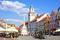 Trebon old town, Masaryk square, Czech republic.