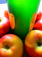 Bottle of cider and apples. Asturias, Spain.