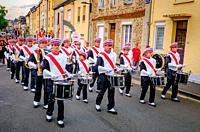 The town band plays during Bastille Day celebrations in the town of Villaines-la-Juhel, Pays de la Loire, France.