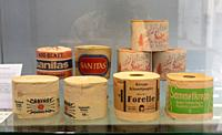 Bergisch Gladbach, Germany, 25. 08. 2020: Toilet paper rolls of various brands are displayed in a showcase in the LVR Industrial Museum Papiermuehle A...