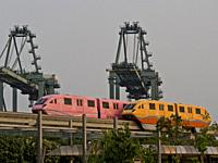 Monorail shuttle to Sentosa island in Singapore.