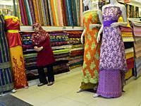 Muslim carpet and textiles shops in Arab Street,Singapore.