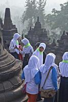 The ancient Borobudur Buddhist temple near Yogyakarta, Indonesia.