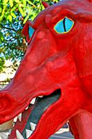 Dragon head of the festive troupe, Catalan popular culture, Barcelona, ??Catalonia, Spain