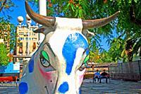 Bull head of the festive troupe, Catalan popular culture, Barcelona, ??Catalonia, Spain