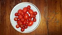 Different varieties of tomatoes collected in the country lie in a the basin.