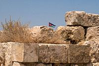 ruins in the citadel in Amman, Jordan.