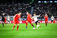 Wolfsburg, Germany, March 20, 2019: Leroy Sané (GER) in action against Serbian opponents during the international game Germany vs Serbia.