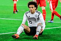 Wolfsburg, Germany, March 20, 2019: German footballer Leroy Sané on ground after a foul during the international soccer game Germany vs Serbia in Wolf...