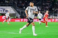 Wolfsburg, Germany, March 20, 2019: Jonathan Tah (GER) runs in the field during the international soccer game between Germany and Serbia.